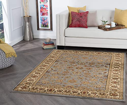 Tayse Davenport Blue 9×13 Rectangle Area Rug for Living, Bedroom, or Dining Room – Traditional, Oriental