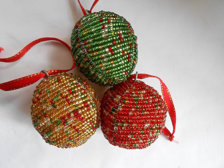 amazoncom christmas ornaments handmade christmas ornaments beaded christmas ornaments christmas balls handmade - Beaded Christmas Tree Decorations To Make