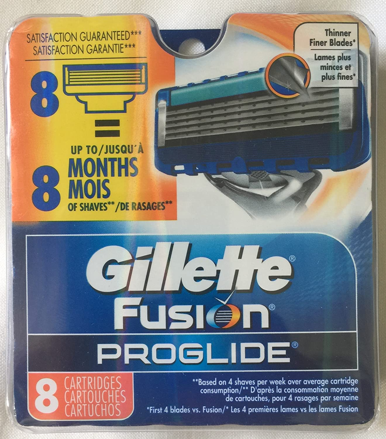 Gillette 8 Fusion Proglide Razor Blades NEW 8 PACK 100% AUTHENTIC, GENUINE NIB