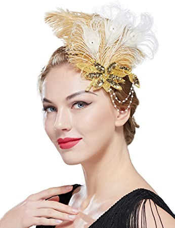 Peacock Feather Fascinator Flapper feather hair piece Gatsby Red Hair piece