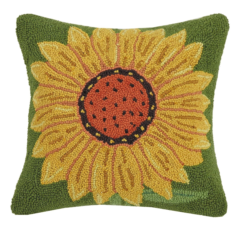 Peking Handicraft Sunflower Hook Pillow Throw, 16x16
