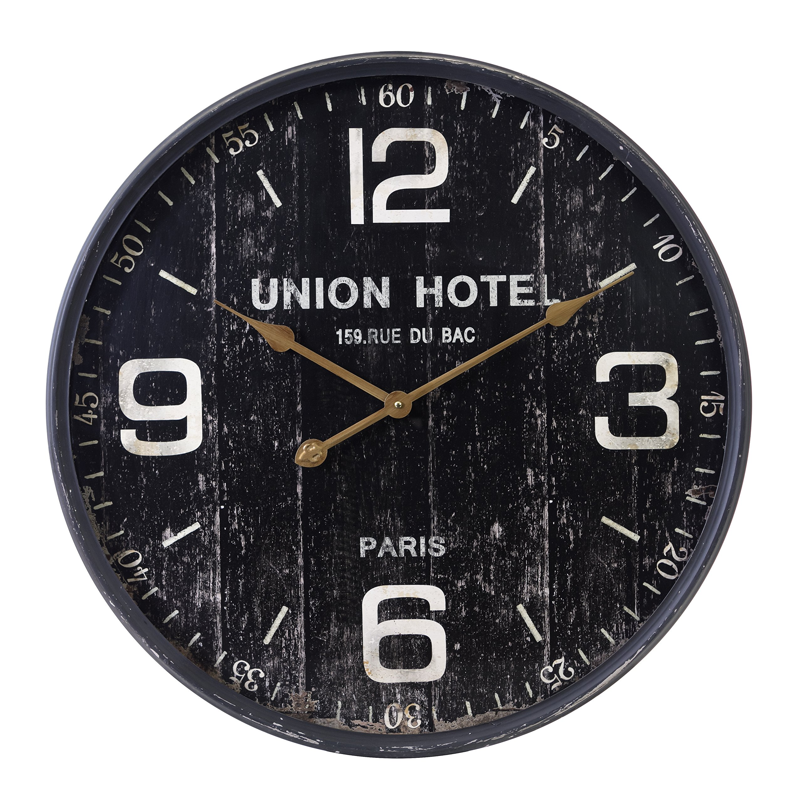 Kiera Grace HO60203-9 Union Hotel Metal Wall Clock, Large, Black