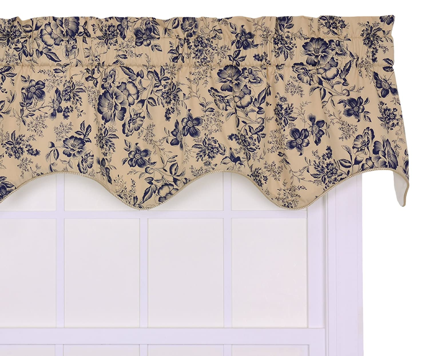 Ellis Curtain Palmer Floral Toile Lined Duchess Filler Valance Window Curtain, Navy