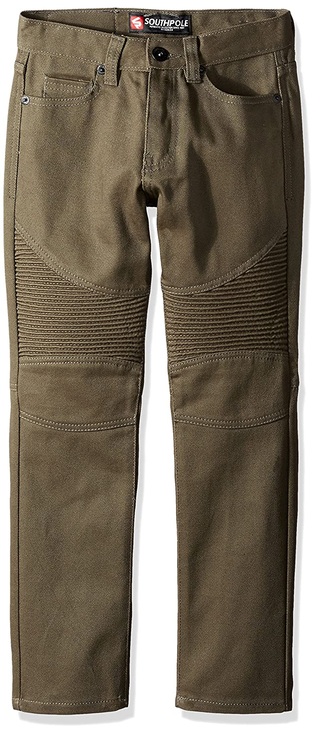 18 Southpole Boys Big Boys Twill Pants Long In Thick Bull Twill Fabric and Moto Biker Details On Knees Twill Olive