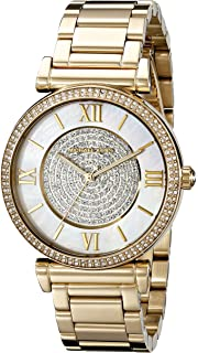 33b4edbc3435 Michael Kors Goldtone Catlin Watch with Mother-of-Pearl Dial   Pave Detail
