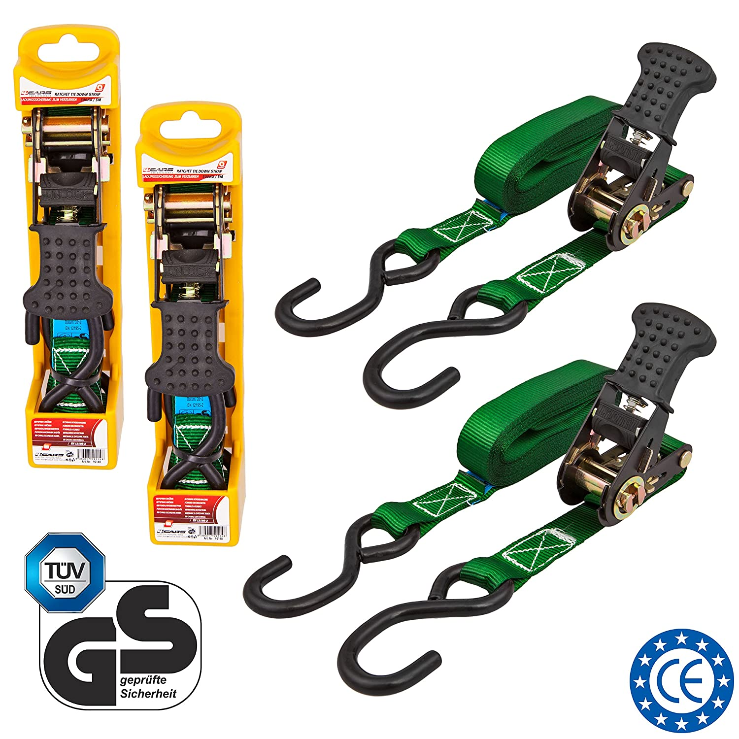 Tie-Down Ratchet Strap with S-Hooks rated for 150 kg 5 meters 16.4 ft wide 25 mm 1 inch long 4CARS 2-pack set