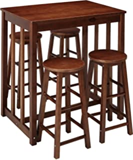 Amazon.com: Baxton Studio Leeds 5-Piece Wood Collapsible Pub Table ...