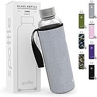 Spottle® Glazen fles met neopreen hoes in 360 ml - grijs