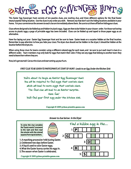 Amazon.com: Printable Easter Egg Scavenger Hunt Clues Game ...