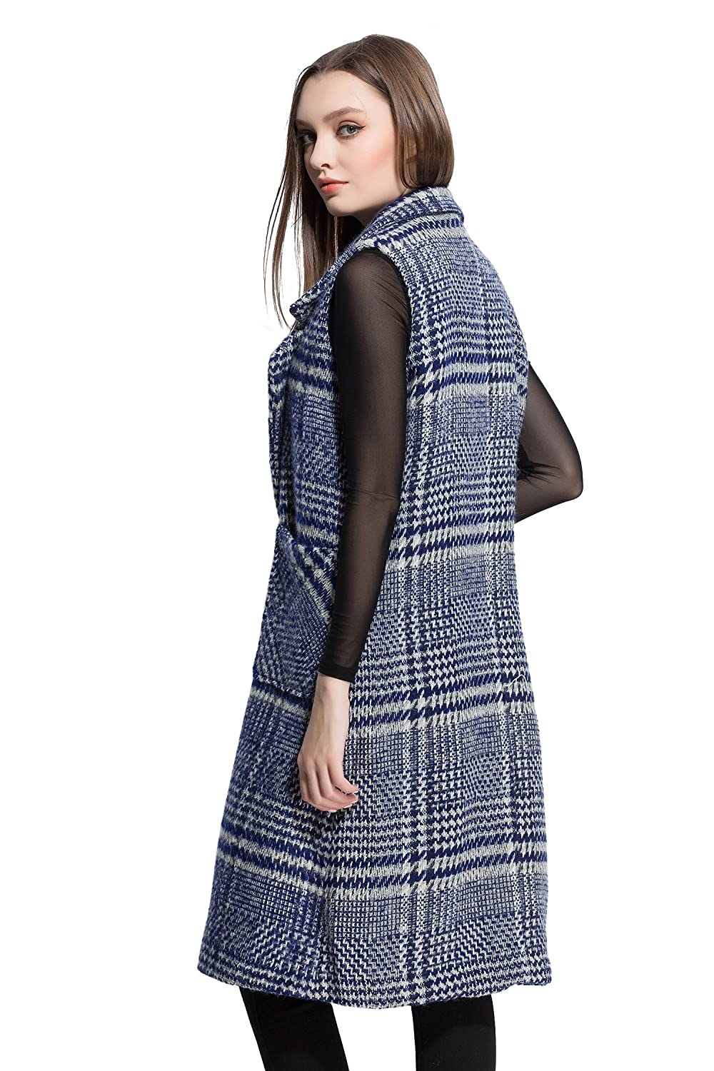 Women's Woolen Plaid Double Pockets Front Lapel Outerwear Coat
