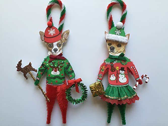 Chihuahua UGLY CHRISTMAS SWEATER ORNAMENTS Vintage Style Chenille Ornaments  Set of 2 - Amazon.com: Chihuahua UGLY CHRISTMAS SWEATER ORNAMENTS Vintage Style