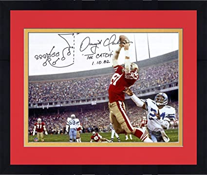 8109bdc1828 Framed Dwight Clark San Francisco 49ers Autographed 16 quot  x 20 quot   Photograph with quot Drawn