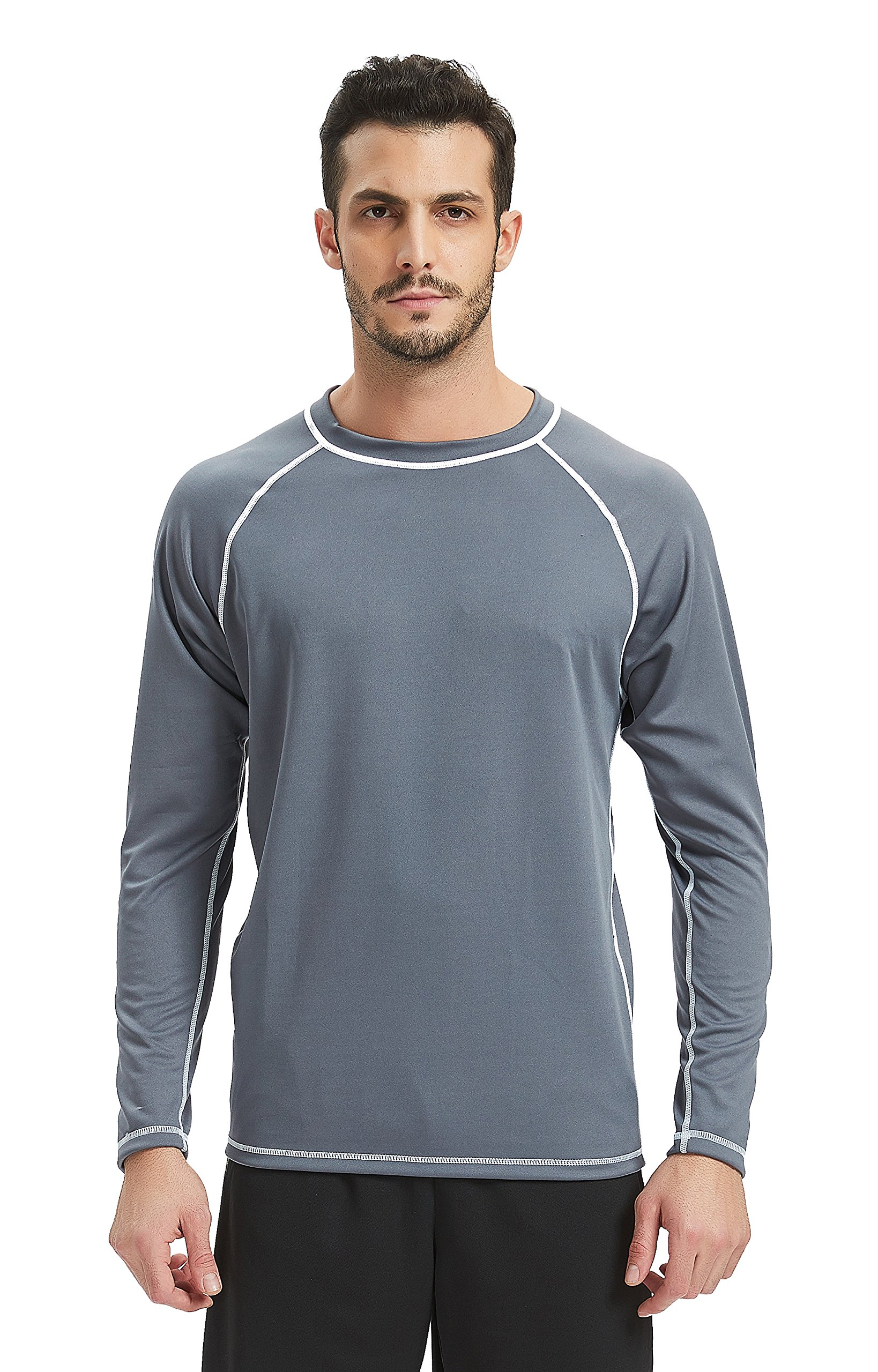 Lemorecn Men's UPF 50+ Easy Long Sleeve Rashguard Swim Shirt (5021grey-S)