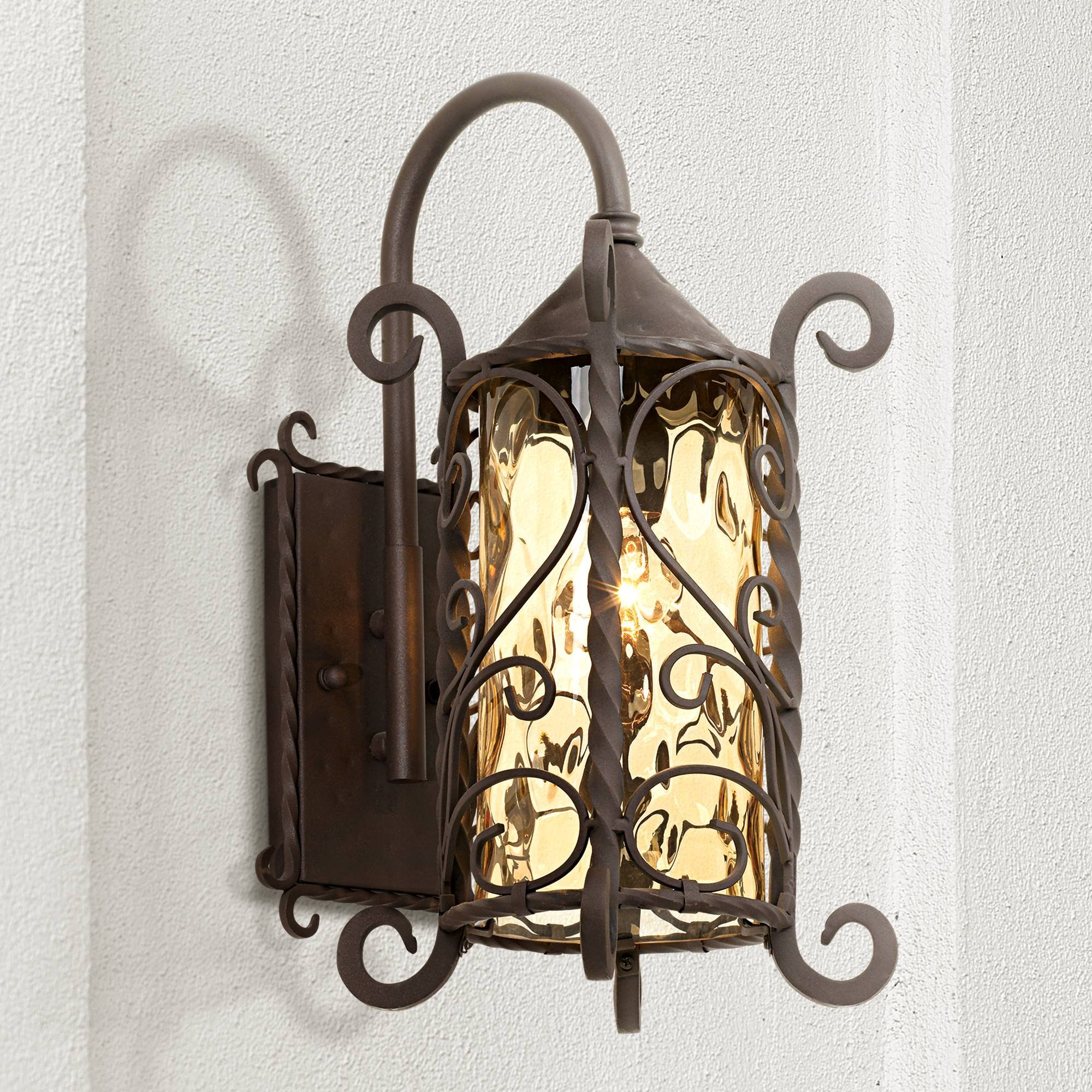 Casa Seville Rustic Outdoor Wall Light Fixture Mediterranean Inspired Dark Walnut Iron Twists 18 1/2'' Champagne Hammered Glass for Exterior House Porch Patio Deck - John Timberland by John Timberland (Image #1)