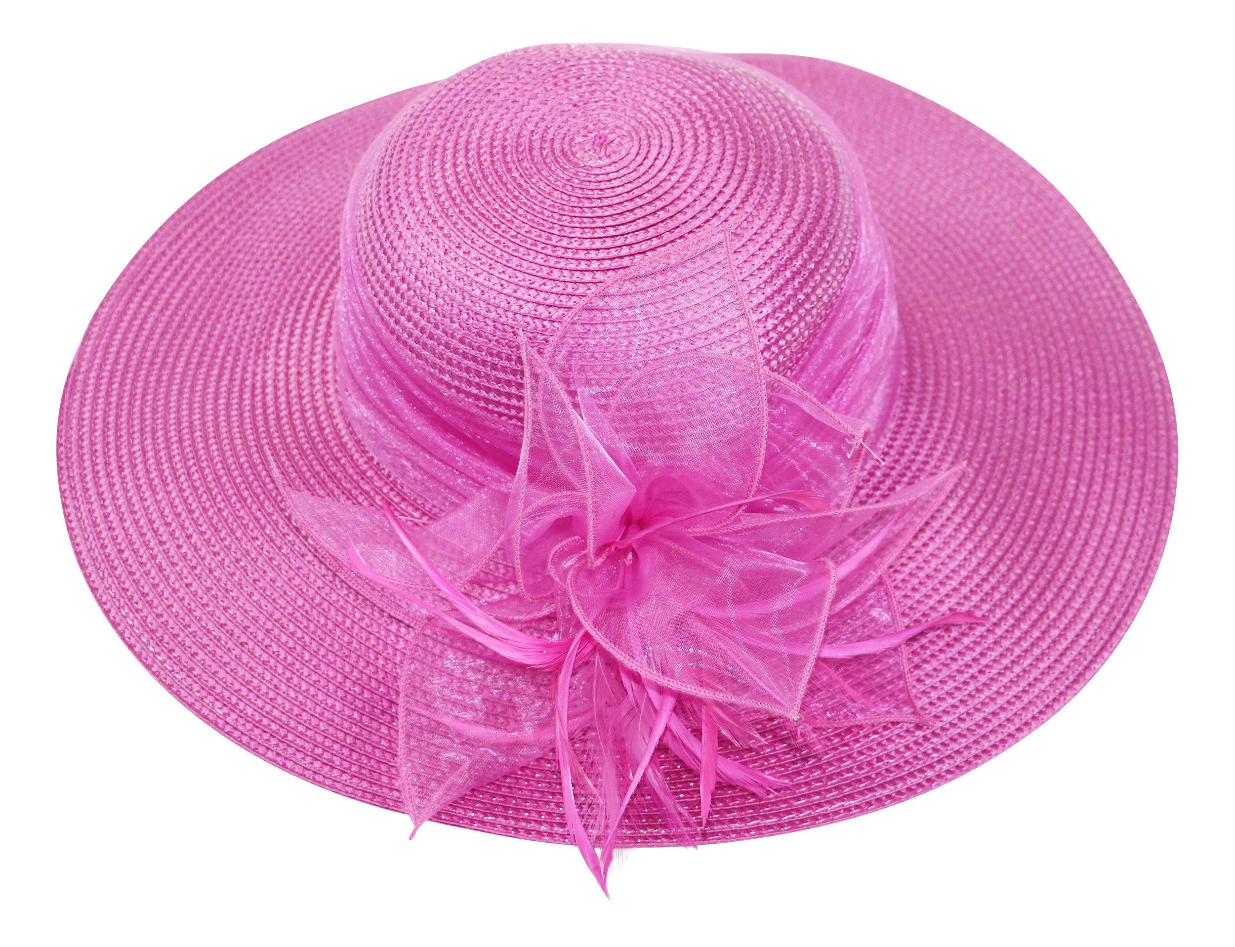 Fine Millinery by August Hat Co Feather Accented Downbrim (Fuchsia, One Size)