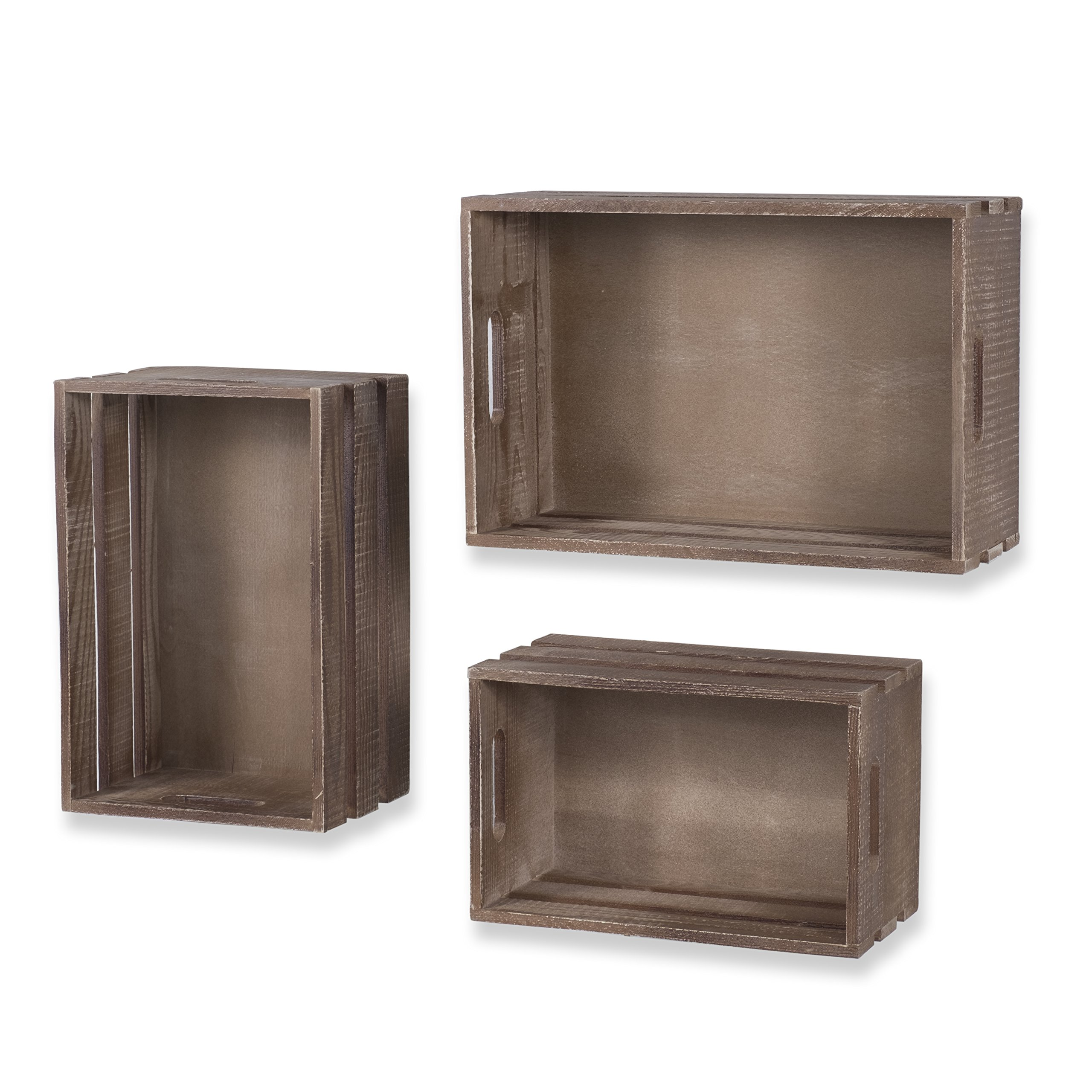 WALLNITURE Rustic Wine Rack Storage Baskets Wall Mount Wooden Crates Walnut Set of 9 by Wallniture (Image #5)