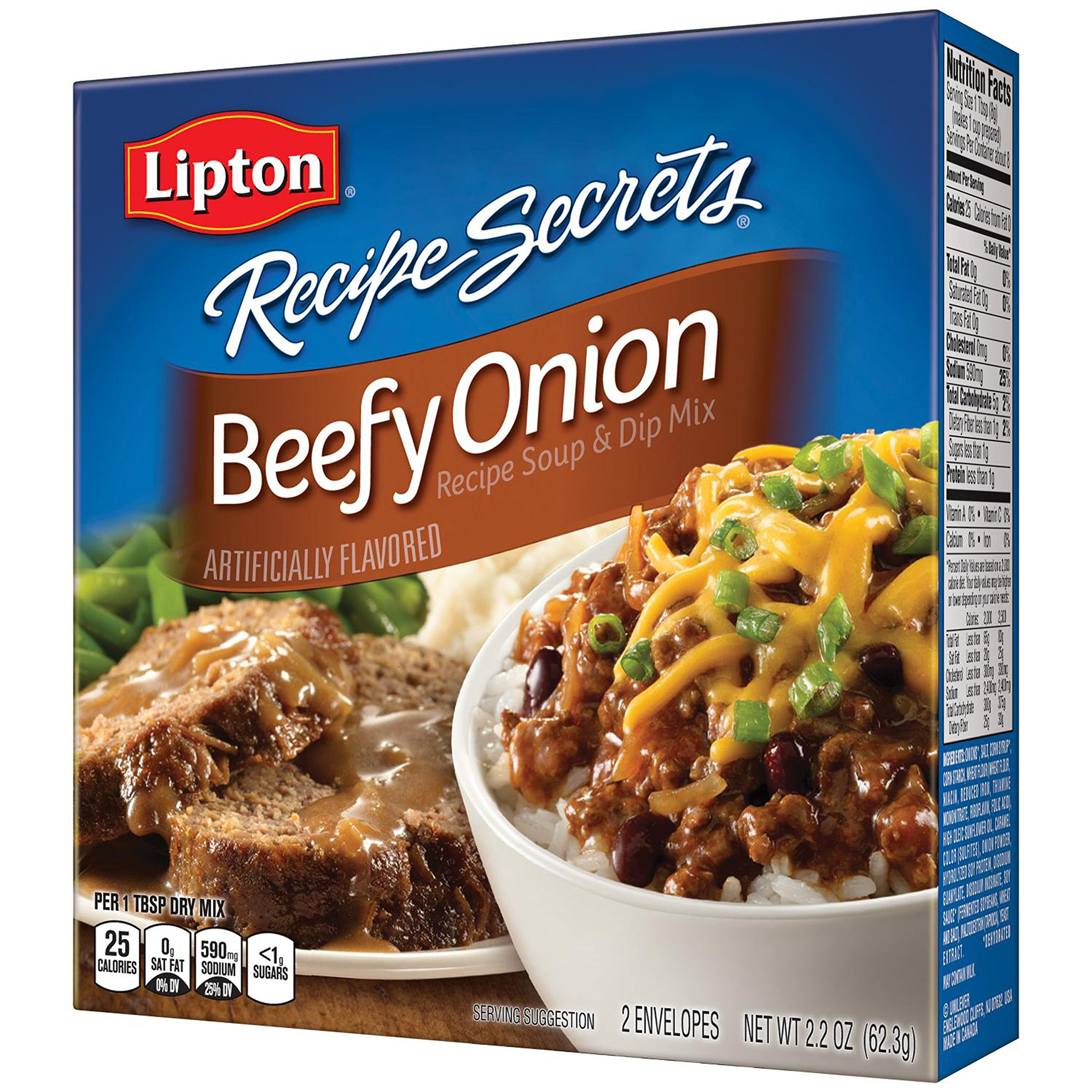 Lipton Recipe Secrets Soup and Dip Mix, Beefy Onion 2.2 oz, Pack of 6 by Lipton Soup