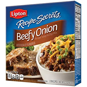 Lipton Recipe Secrets Soup and Dip Mix, Beefy Onion 2.2 oz, Pack of 6