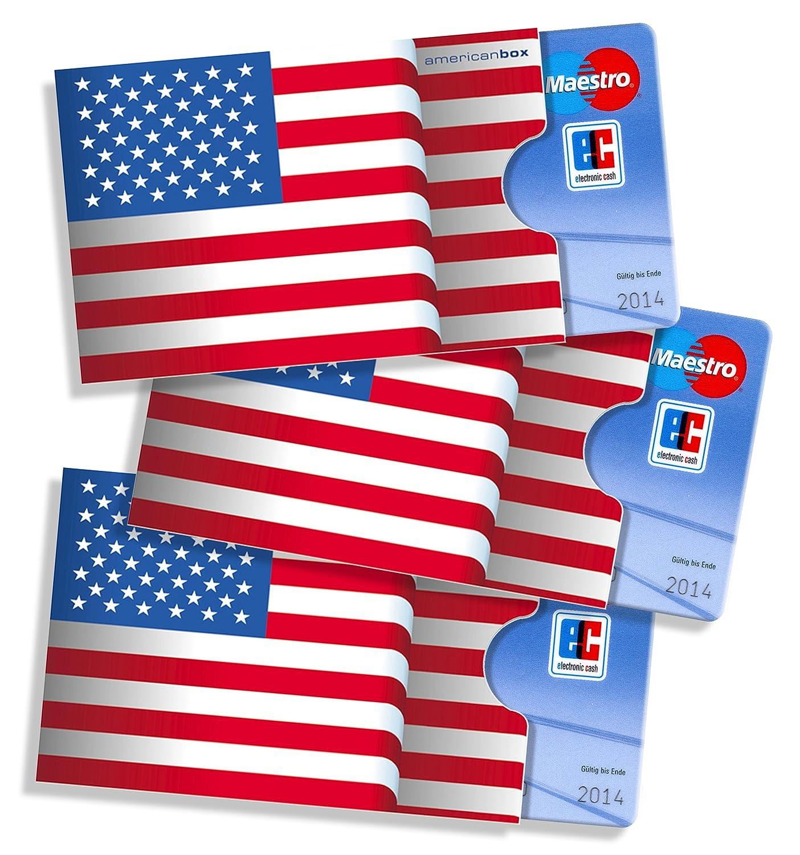 Cardbox Motiv Usa Amerikanische Flagge Stars Stripes Fahne 3er Set Kreditkartenhülle Ausweishülle Visitenkartenhülle