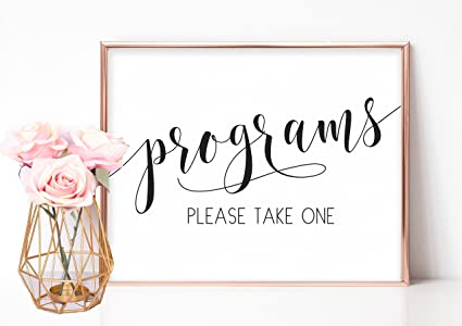 Amazon Com Wedding Programs Wedding Program Sign Wedding