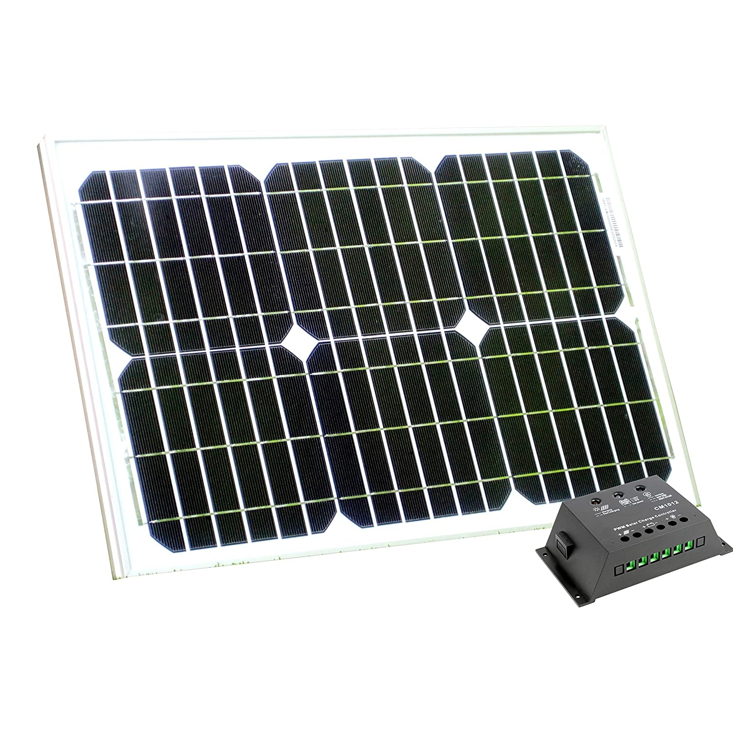 20W 12V Solar Panel with 10A Charge Controller for 12V Battery Solar Panel for Caravan Motorhome Camping Boat Shed Off-Grid System by PK Green
