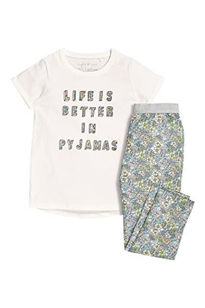 next Niñas Junior Pantalón De Pijama Tejido Pantalones Estampado De Flores Y Camiseta (3-