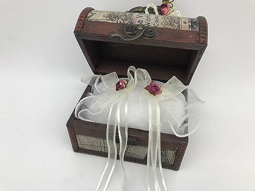 Cofre cojin anillos boda original lazo blanca flor granate ...