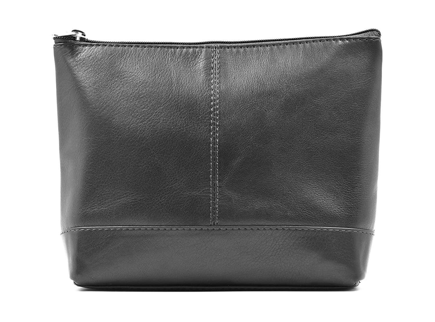 Ashlin Genuine Leather Delmare Small Cosmetic Bag, Black