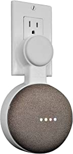 Mount Genie Affordable Essentials Google Home Mini Outlet Wall Mount Hanger Stand | A Low-Cost Space-Saving Solution (White, 1-Pack)