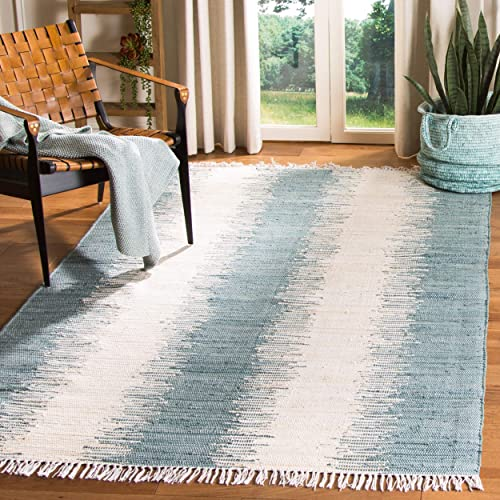 Safavieh Montauk Collection MTK751A Handmade Flatweave Blue Cotton Area Rug 9 x 12