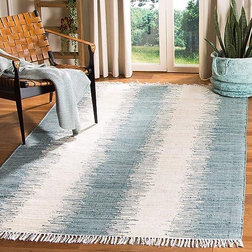 Safavieh Montauk Collection MTK751A Handmade Flatweave Blue Cotton Area Rug 6 x 9
