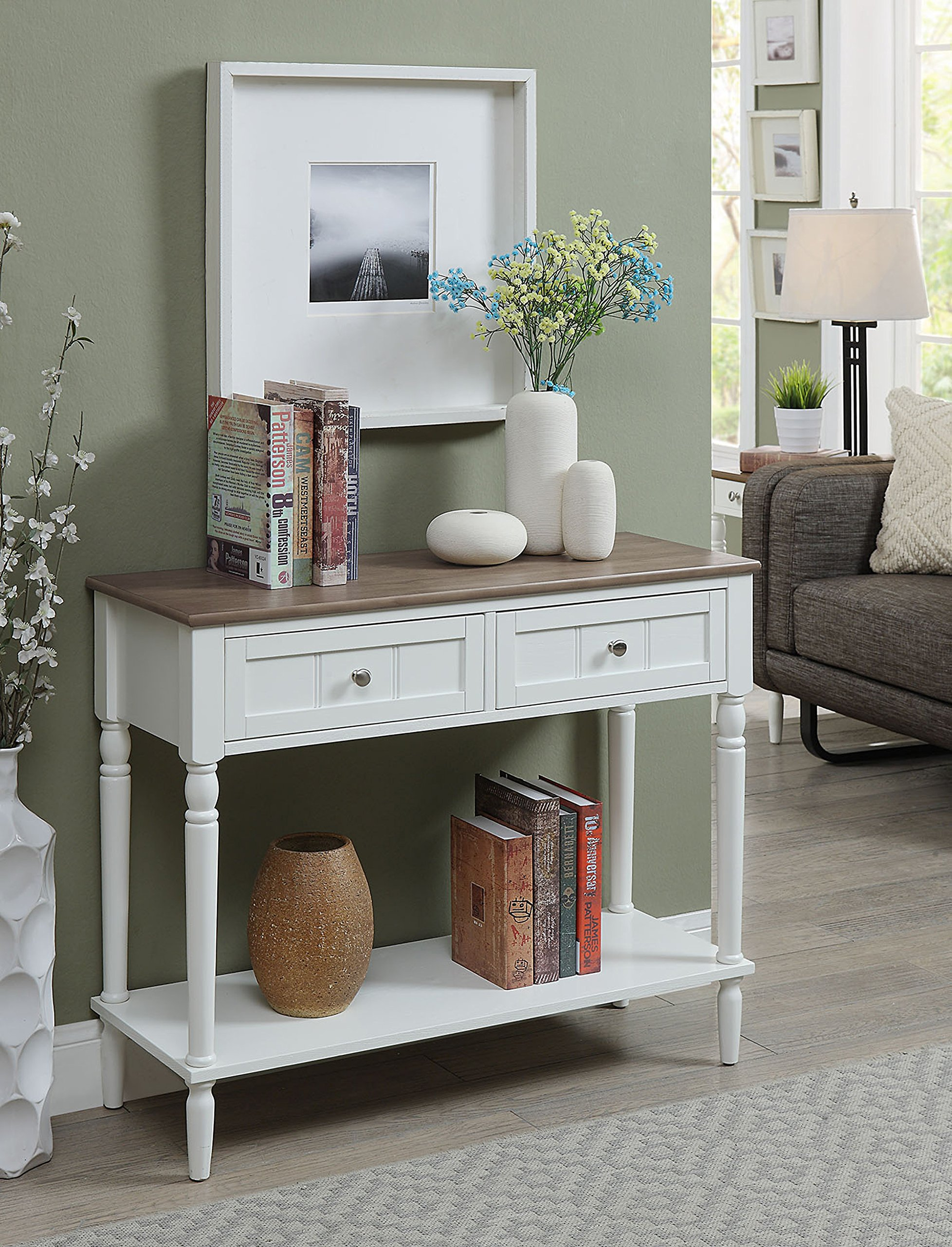 Convenience Concepts 6050419DFTW French Country Hall Table, Driftwood/White by Convenience Concepts