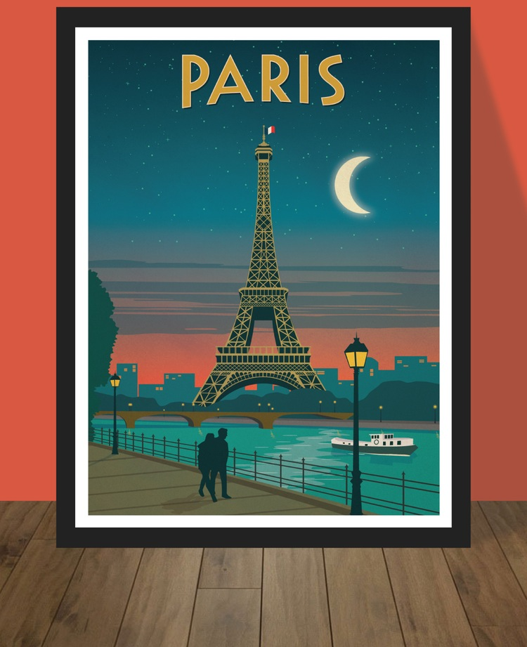 IdeaStorm Media Store — Vintage Paris Moonlight Poster