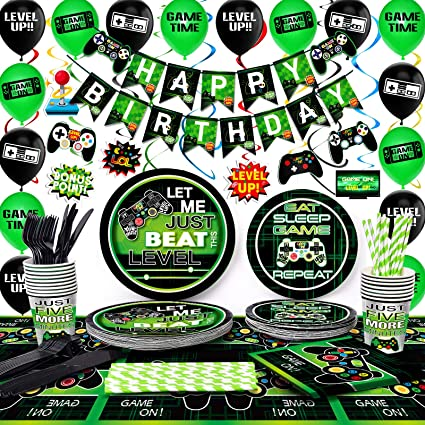 TMCCE Video Game Party Supplies Gaming Party Decoration For Boys Paper Plates,Cups,Napkins Straws,Hanging Swirls,Balloons And Happy Birthday Banner For Boy Gamer Birthday Party Decoration 178 PCS