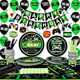 TMCCE Video Game Party Supplies Gaming Party Decoration For Boys Paper Plates,Cups,Napkins, Straws,Hanging Swirls,Balloons An