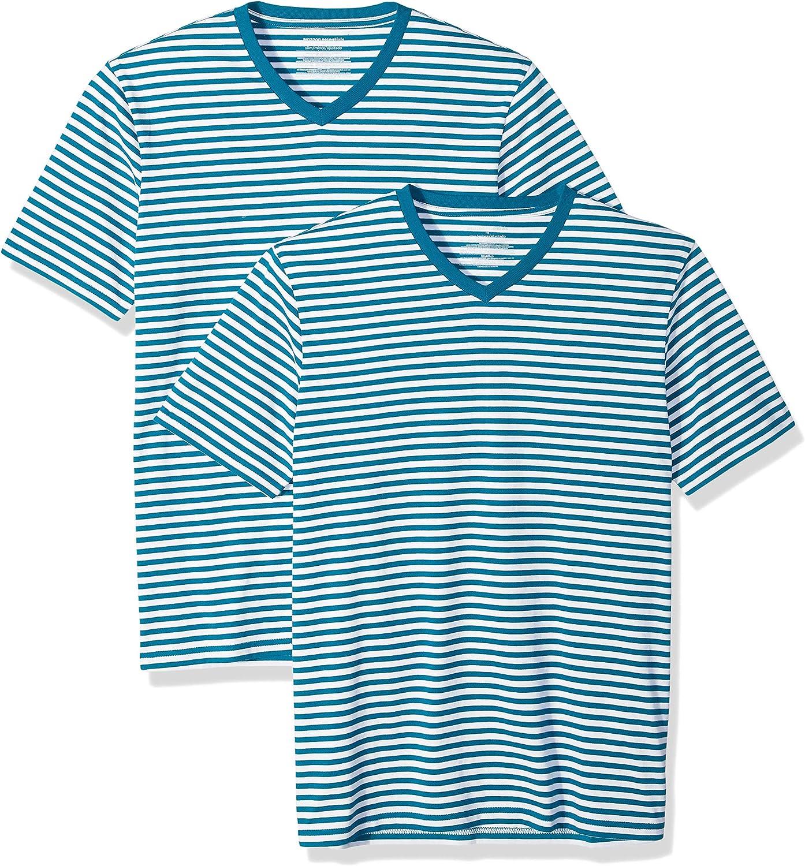 Essentials Mens Slim-fit Short-Sleeve Stripe V-Neck T-Shirts