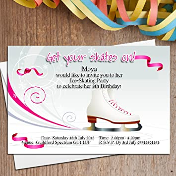 10 Personalised Girls Ice Skating Birthday Party Invitations Invites