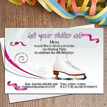 10 Personalised Girls Ice Skating Birthday Party Invitations Invites