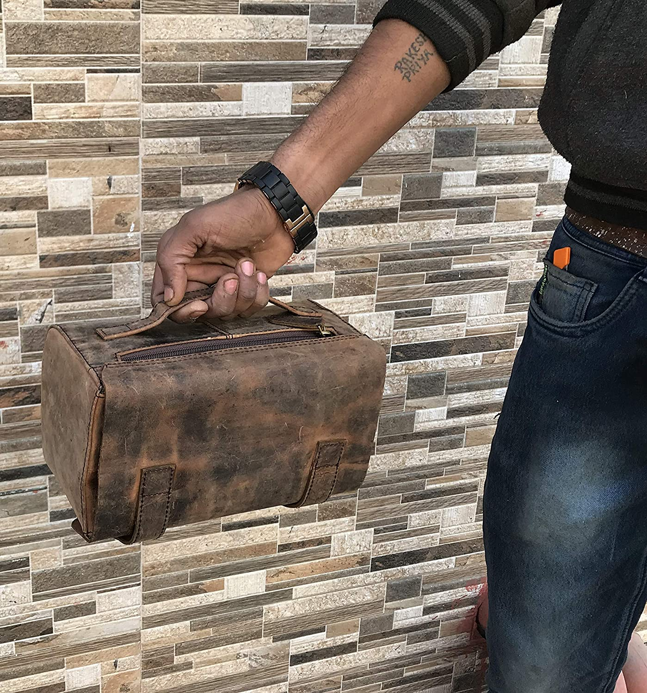 Dopp Kit Toiletry Travel Bag Leather Genuine for Men Buffalo P and Mens Womens