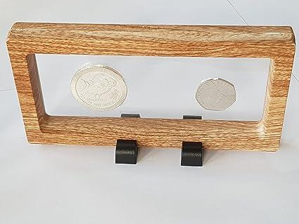 Moneda pantalla soporte 3d marco flotante pantalla acabado en roble ...