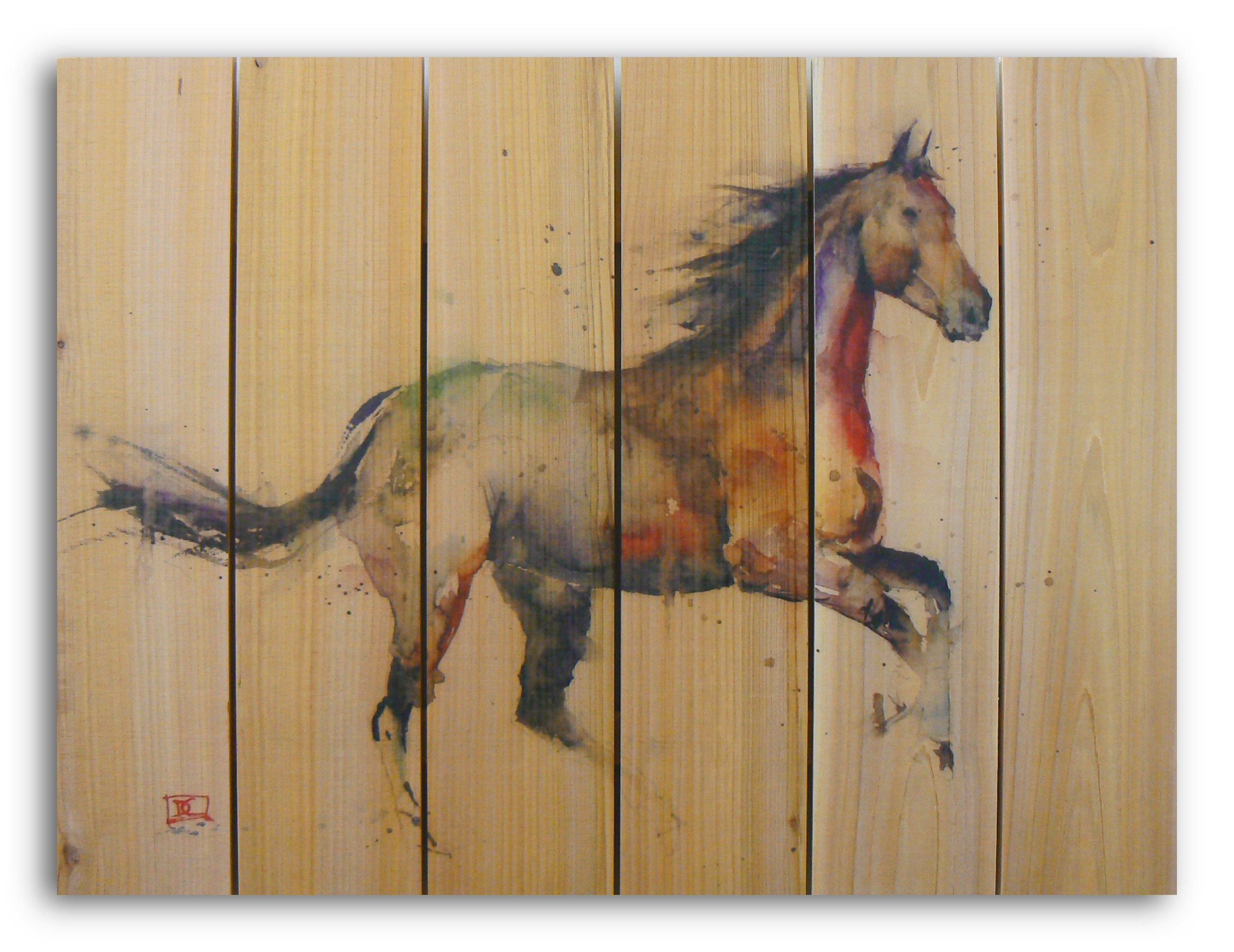 Gizaun Art Signature Series No.1 ''Free Spirit'' Inside/Outside Full Color Cedar Wall Art, 33 by 24-Inch