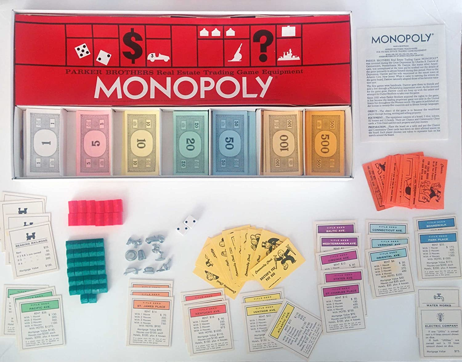 Amazon com 1961 monopoly parker bros real estate trading game equipment toys games