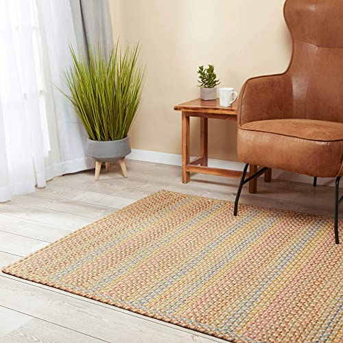 Super Area Rugs Braided Rug Sanford Indoor Outdoor Braided Carpet for High Traffic Kitchen, Khaki Multi, 8 x 11 Rectangle