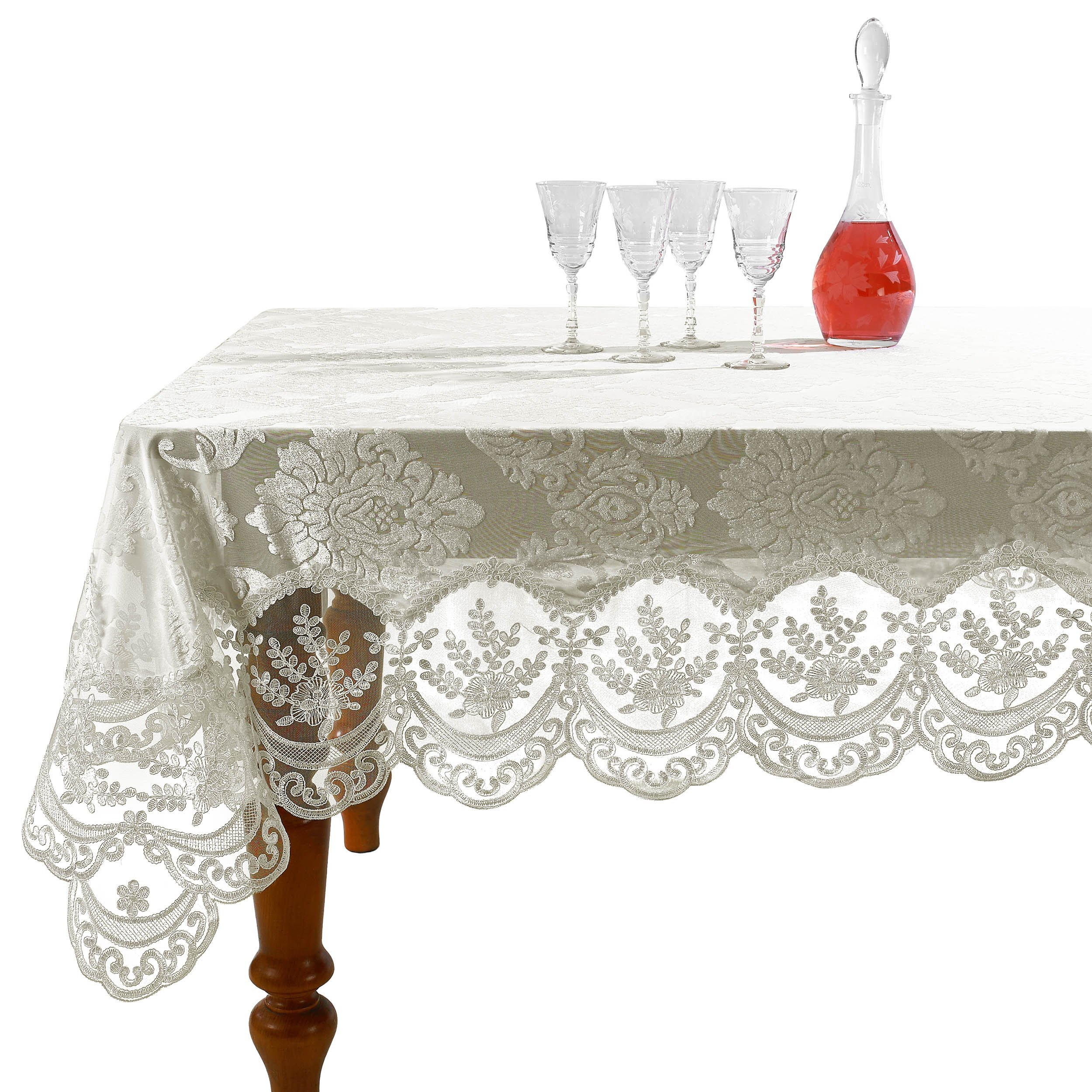 Violet Linen Fountainbleau Embroidered Lace Tablecloth, Floral Velvet Design - Ivory - 70'' x 144''
