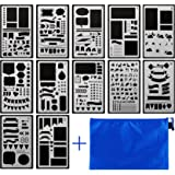 ONEST 12 Pack bullet journal stencils Journal/Notebook/Diary/Scrapbook DIY Drawing Template Stencil 4x7 Inch with Gift Zip Pouch