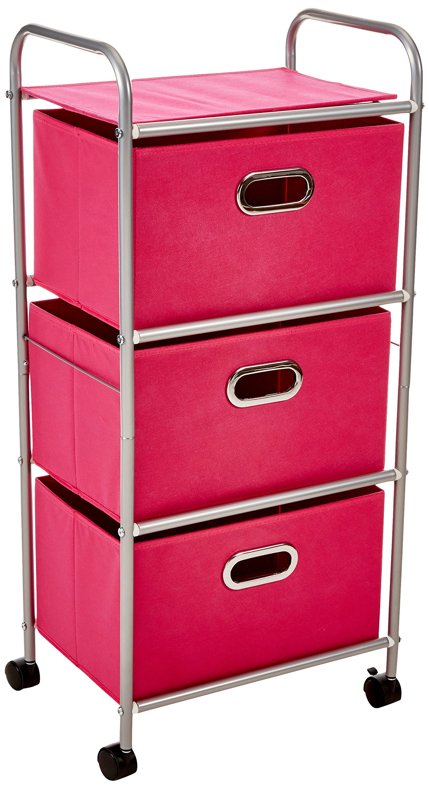 Honey-Can-Do CRT-02348 Fabric Rolling Cart with 3 Drawers, Pink by Honey-Can-Do