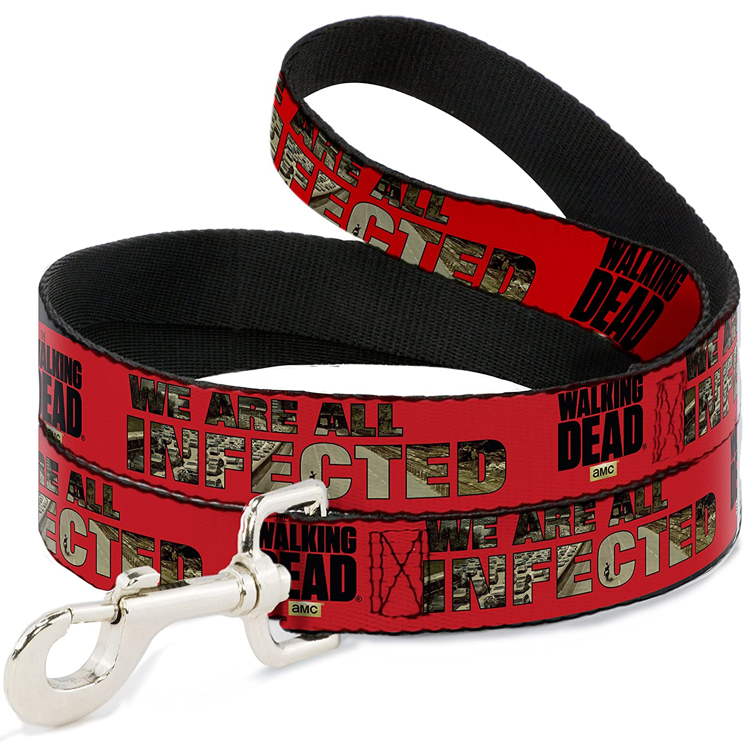 6Ft. Long  1.0 Inches wide Regular Buckle-Down The Walking Dead We are All Infected Red Black  Dog Leash, 6'