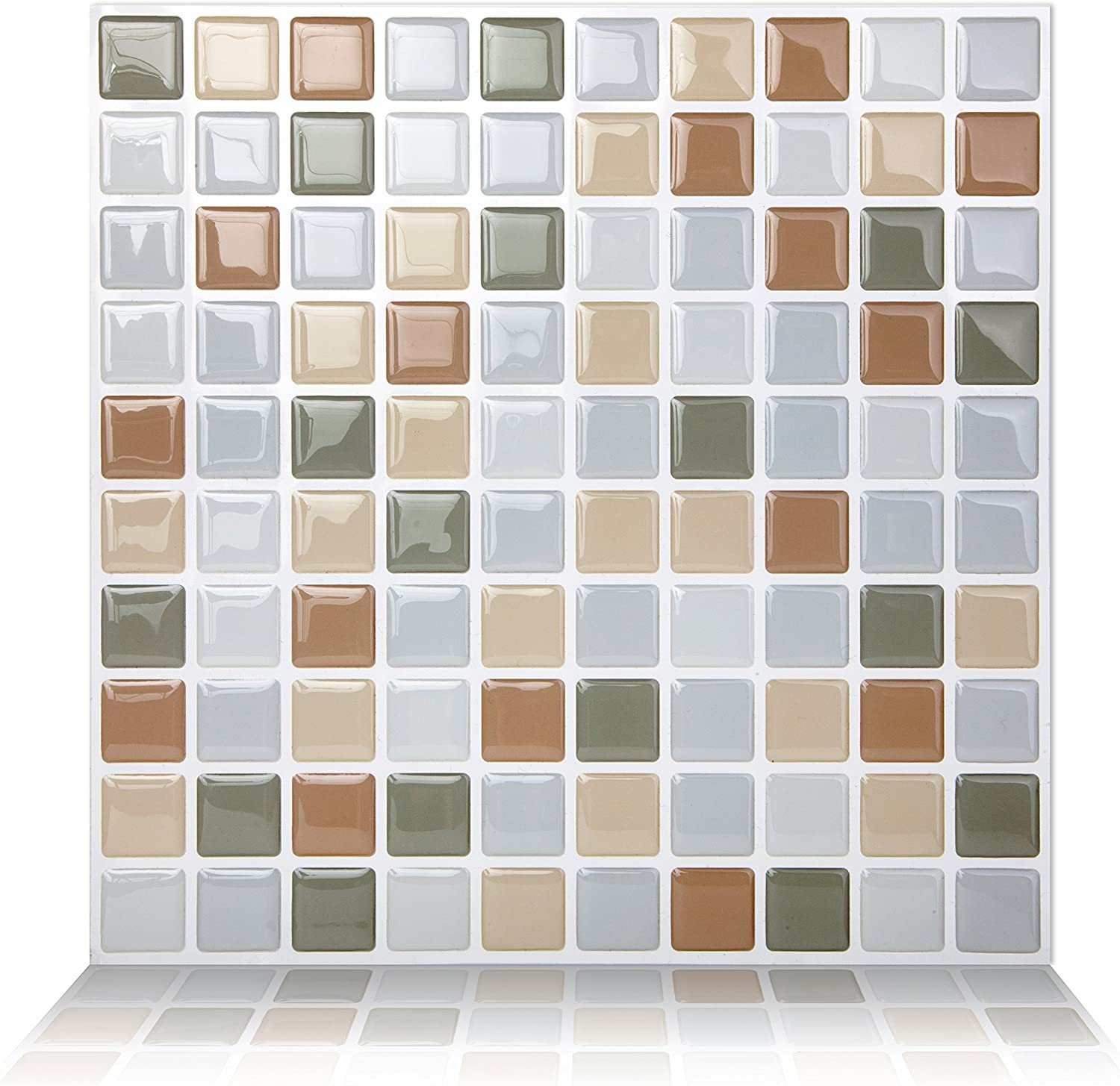 Tic Tac Tiles Peel and Stick Self Adhesive Removable Stick On Kitchen Backsplash Bathroom 3D Wall Tiles in Square Design (Beigegrey, 5)