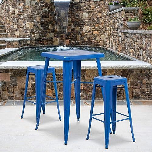 Flash Furniture 4 Pack Commercial Grade 30″ High Backless Blue Metal Indoor-Outdoor Barstool