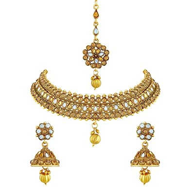 b72c1ae644116 Buy Asmitta Sparkling Gold Plated Choker Style Copper Necklace Set with  Mangtikka for Women Online at Low Prices in India